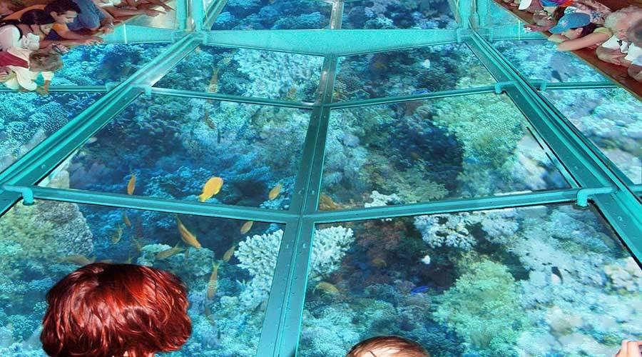 Barco de vidro no mar